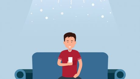 cartoon boy siting on couch in the winter